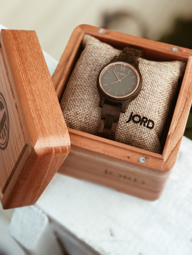 jord wood watch in display box styled for fall