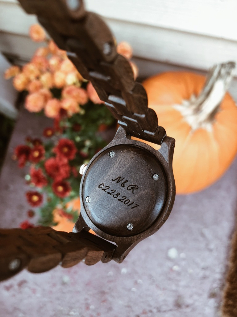 engraving on wood watch, pumpkins and mums for fall